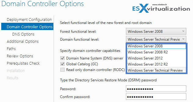 Windows Server 2016 - Domain and forest functional levels