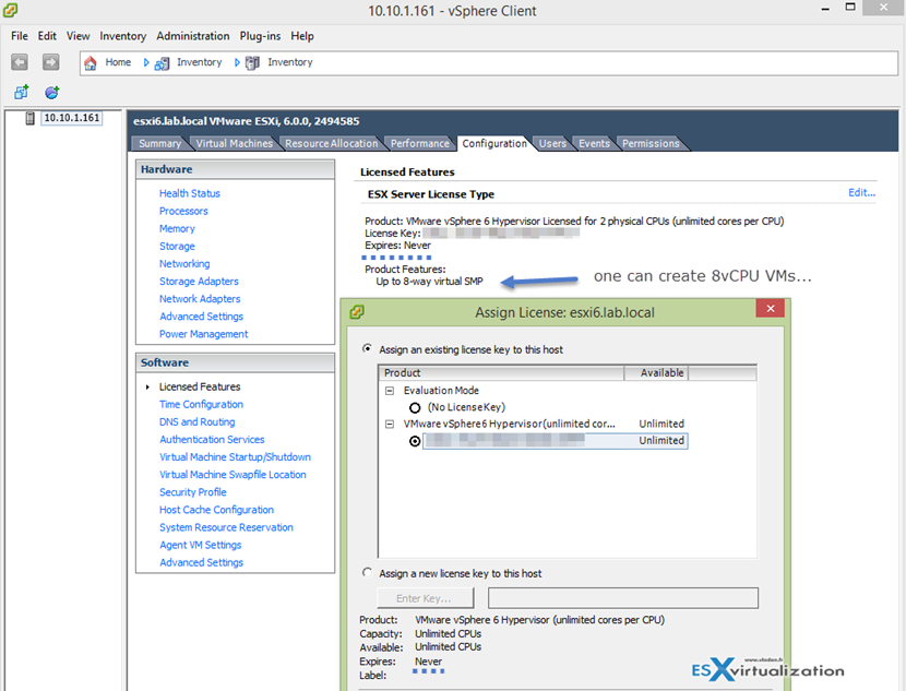 How to assign Free ESXi 6 License to ESXi 6