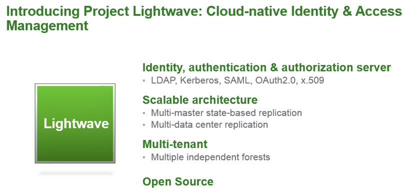 Project Lightwave - Identity authentication and authorisation for cloud applications