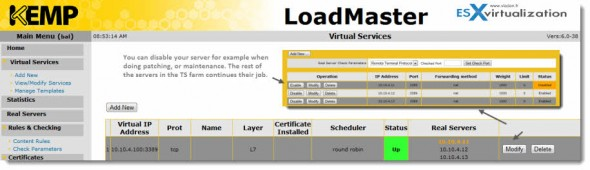 LoadMaster VLM - KEMP Technologies - disabling server in TS farm