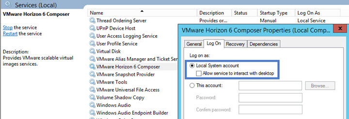 VMware Horizon Composer Local System account
