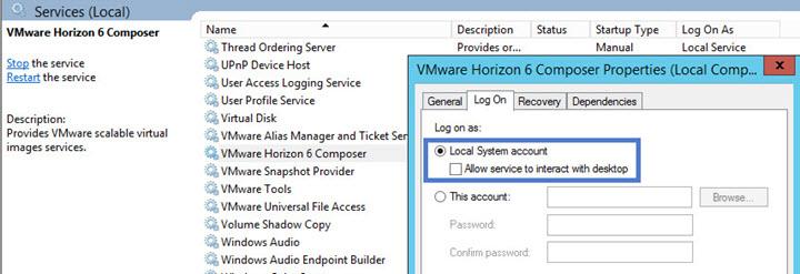 VMware Horizon Composer Local System account