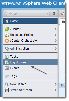 New vSphere Web Client with Log Browser Plugin