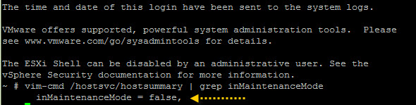 How to check if ESXi host is in maintenance mode via the cli
