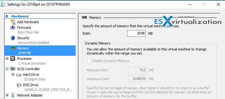Windows Server 2016 Hyper-V allows add/remove RAM while VM