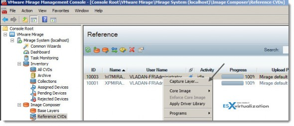 VMware Mirage Capture Layer