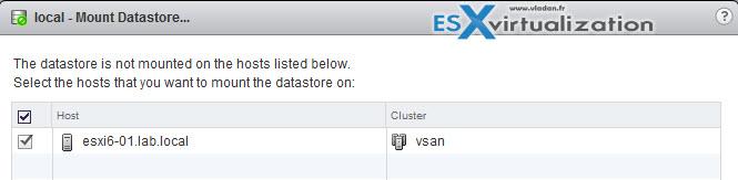 Mount Datastore VMware