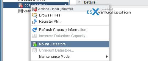 VCP6.5-DCV mount datastore