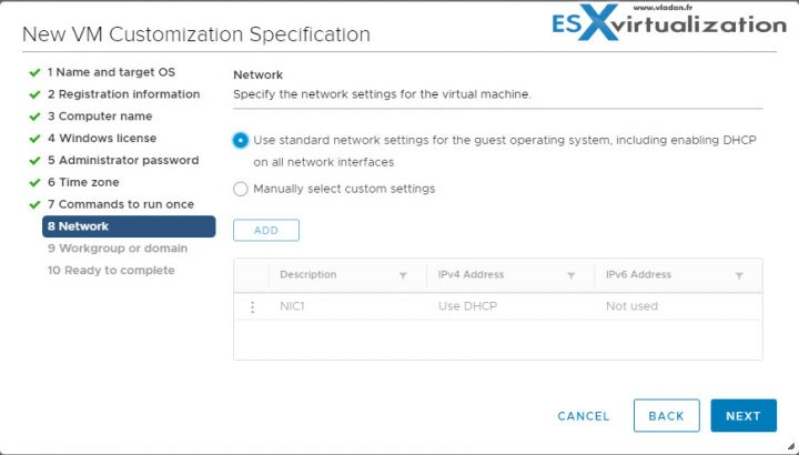 What is VMware VM Customization Specification and How to use it