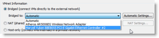 network editor Bridging network adapters in VMware Player 3.1