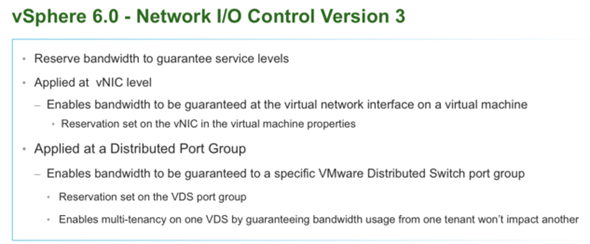VMware vSphere 6 features - Network I/O control version 3