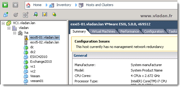 VMware vSphere- no mangement network redundancy notification message - how to turn it off