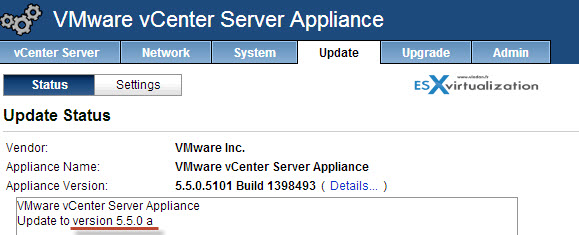 Update to the latest vCenter server appliance 5.5.0a