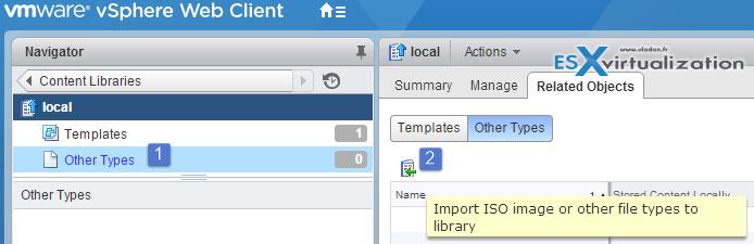 vSphere content library manage ISOs