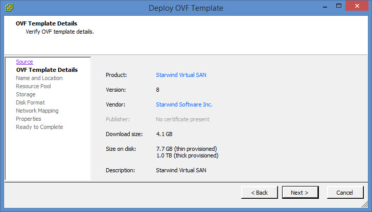Deploy Starwind OVF Template