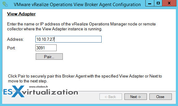 vRealize Operations View Broker Agent config Wirazrd