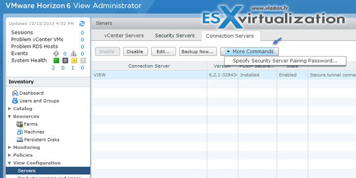 Configure Horizon View security server pairing