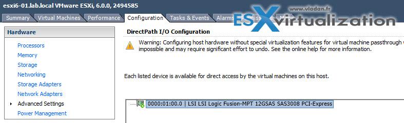 VMware DirectPath I/O configuration