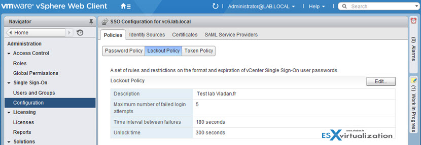 VMware vCenter 6.0 SSO configuration Password lockout policy