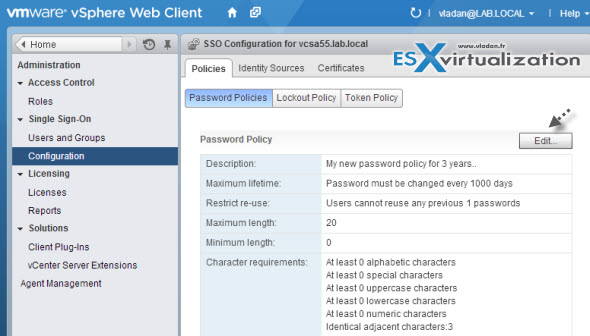 password policy How to change the default password policies in vSphere 5.5