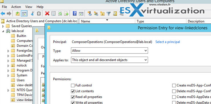 Permissions on view-linkedclones OU in AD