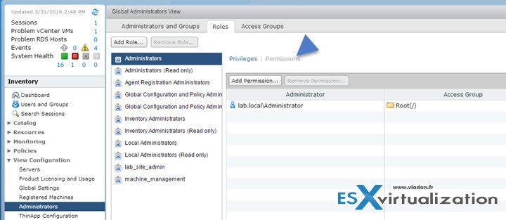 Horizon View Permissions - Create a permission that includes a specific role