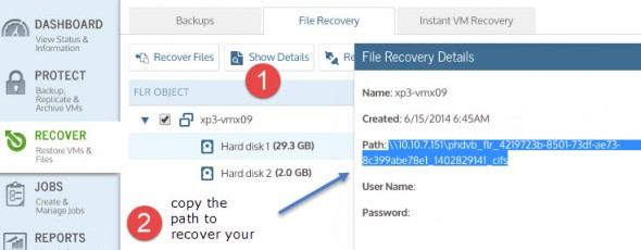 Unitrends Virtual Backup - File Level Recovery
