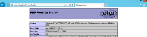 phpinfo IIS and PHP Setup   The Easy Way On Windows Server 2012 With Web Platform Installer