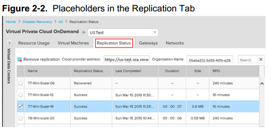 vCloud Air replication tab shows information about stakeholder