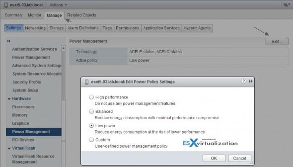 ESXi 5.5 Power Management