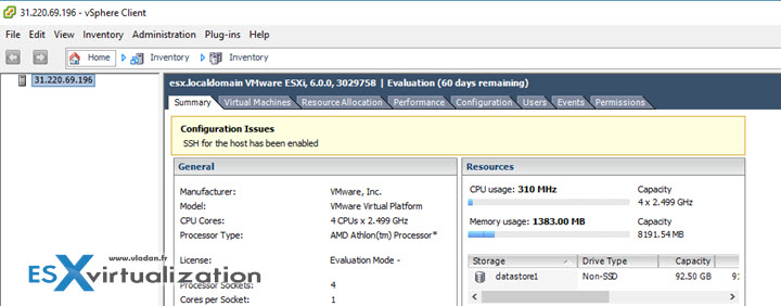 Ravello ports enabled through their firewall in order to access the nested ESXi VM over the Internet