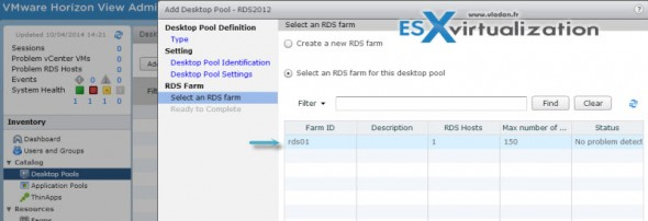 rds desktop farm 590x202 How to add RDS functionality to Horizon View 6
