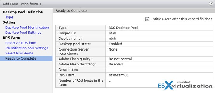 VMware View Configure RDSH Destkop Pool