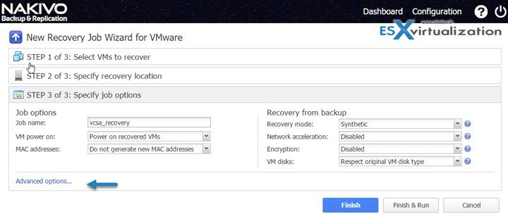How to restore vCenter server VM with Nakivo
