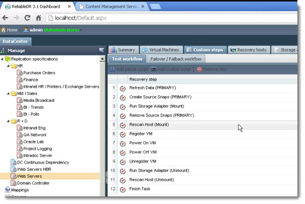 ReliableDR - Test Workflow recovery steps