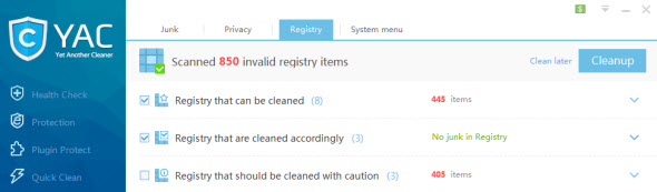 registry scan YAC   Yet Another Cleaner & Optimizer for Windows