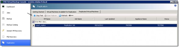 PHD Virtual Backup 6.0 - end falover test.