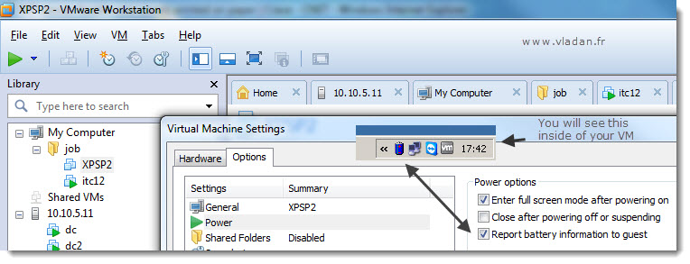 How to activate the battery reporting level inside of a VM