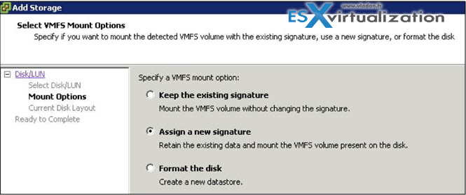 how to resignature VMFS