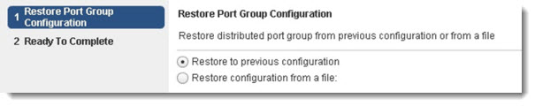 VMware vSphere 5.1 - restore port group configuration on vDS - the options