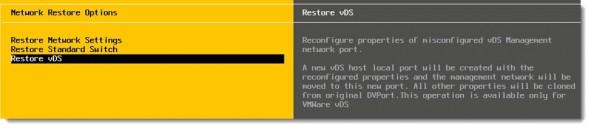 VMware vSphere 5.1 - restore vDS through DCUI