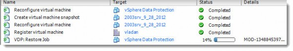 vSphere Data Protection (VDP) - restore jobs