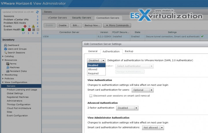 SAML Authentication Horizon View