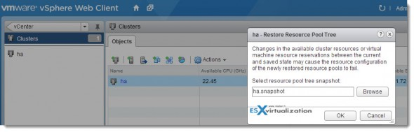 Restore Snapshot of the resource pool tree - vSphere 5.1