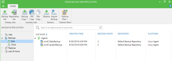 Integration within the Veeam Backup Console
