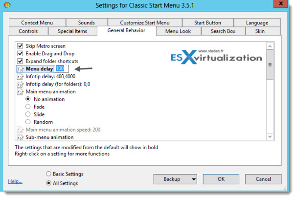 settings classic menu delay Cool Start Menu for Windows 8.x and Windows Server 2012 (R2)