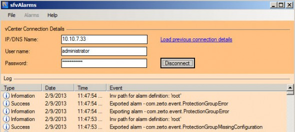 sfvalarms export 590x265 Free GUI utility called svfAlarms for Import and Export vCenter Alarms