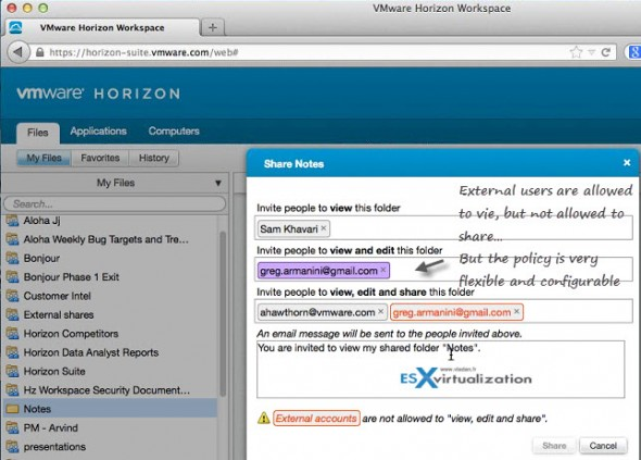 VMware Horizon Workspace - sharing folders files