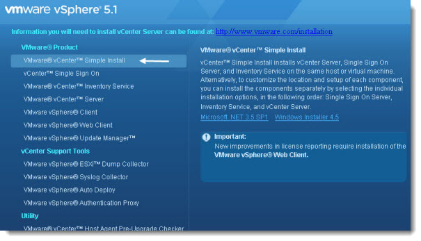simple install Top VMware vSphere 5.1 Features