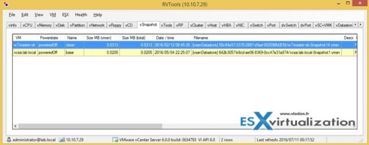 Use RV Tools to check which VMs do have Snapshots